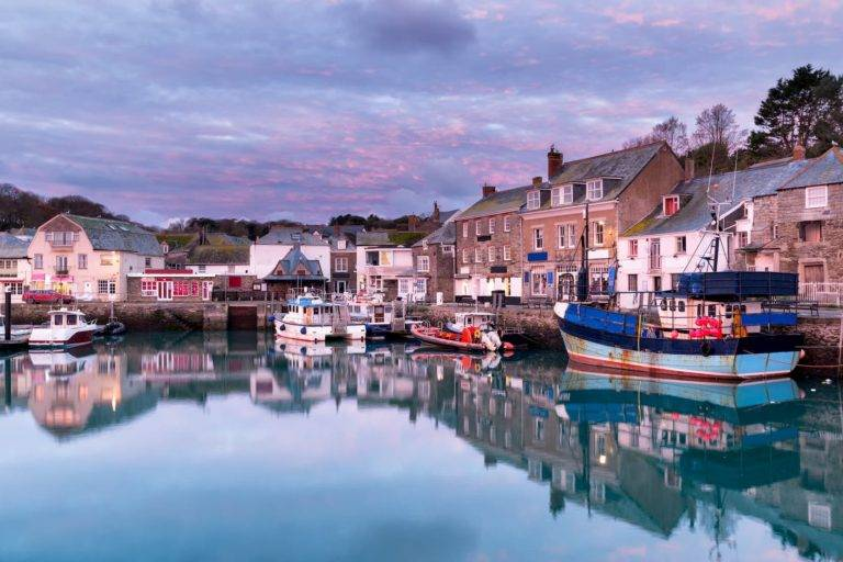 rock and padstow at dusk